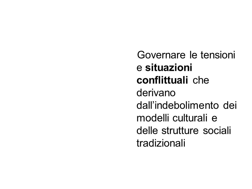 Governare le tensioni e situazioni conflittuali che derivano dallindebolimento dei modelli culturali e delle strutture sociali tradizionali