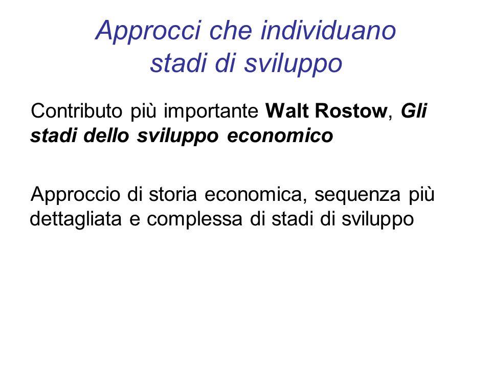 Approcci che individuano stadi di sviluppo Contributo più importante Walt Rostow, Gli stadi dello sviluppo economico Approccio di storia economica, se