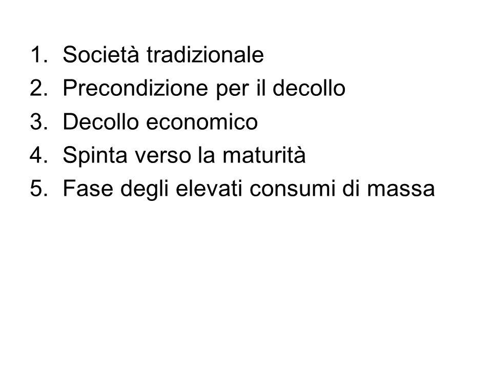 1.Società tradizionale 2.Precondizione per il decollo 3.Decollo economico 4.Spinta verso la maturità 5.Fase degli elevati consumi di massa