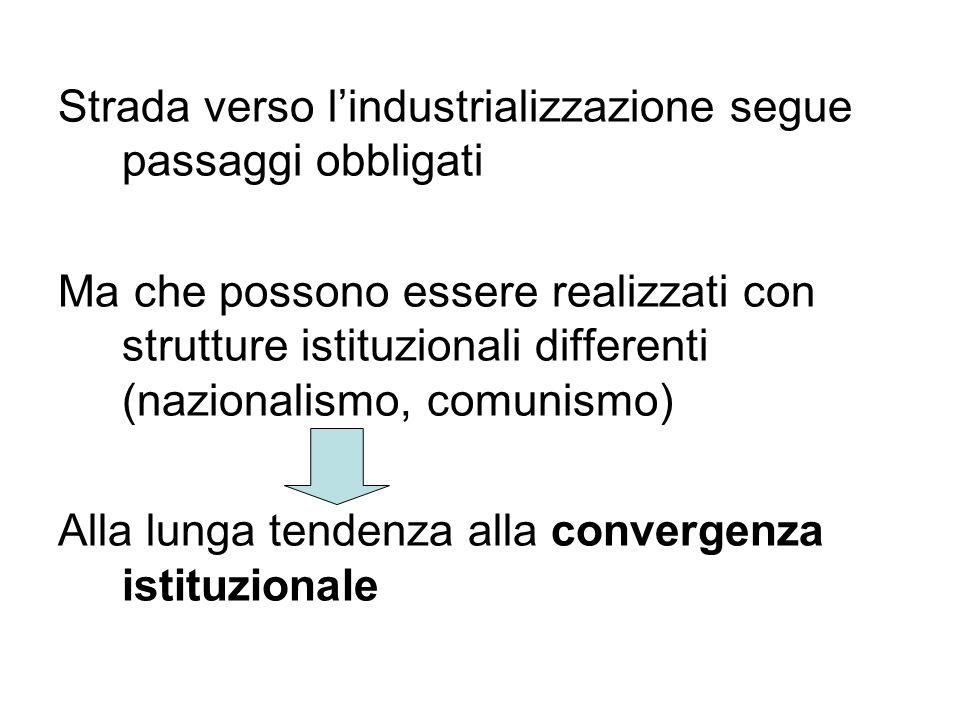 Strada verso lindustrializzazione segue passaggi obbligati Ma che possono essere realizzati con strutture istituzionali differenti (nazionalismo, comu