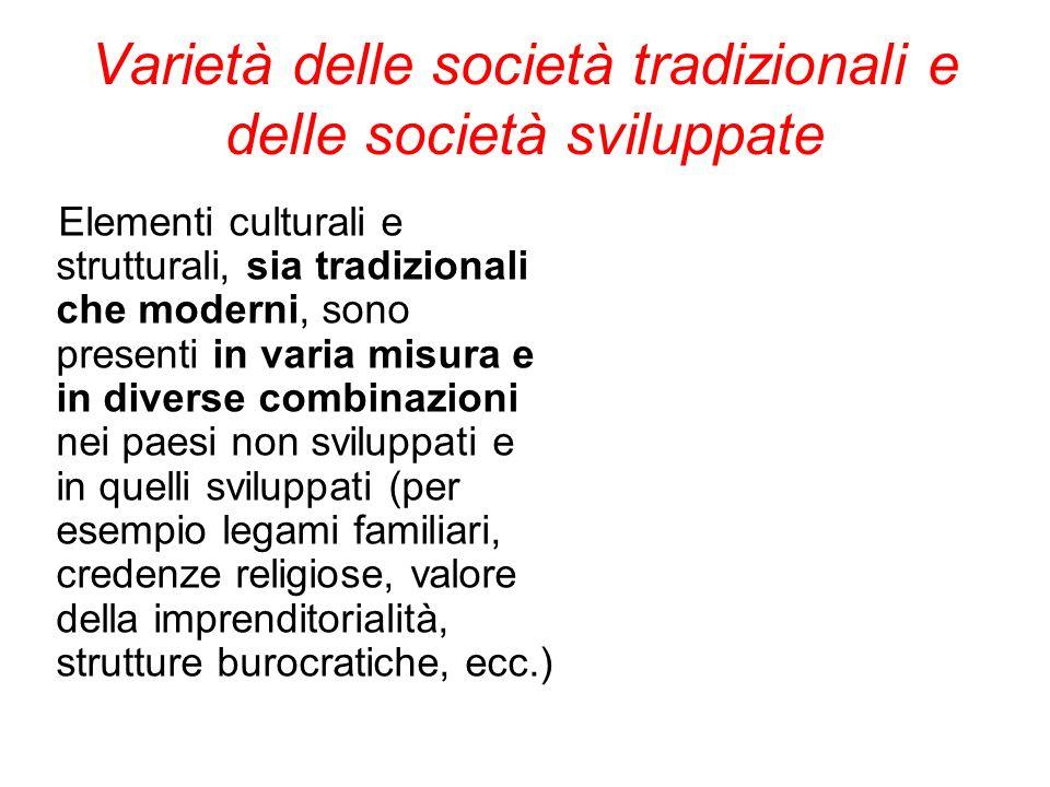 Varietà delle società tradizionali e delle società sviluppate Elementi culturali e strutturali, sia tradizionali che moderni, sono presenti in varia m