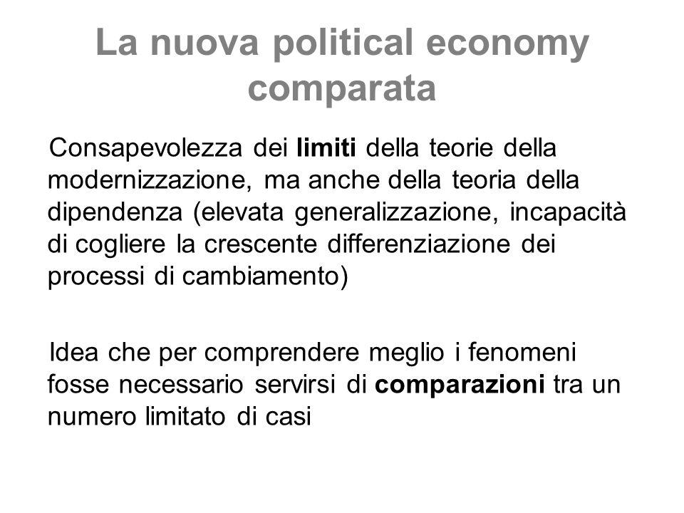 La nuova political economy comparata Consapevolezza dei limiti della teorie della modernizzazione, ma anche della teoria della dipendenza (elevata gen
