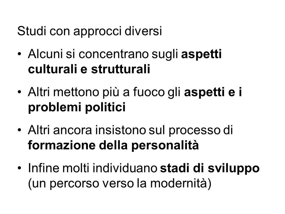 Studi con approcci diversi Alcuni si concentrano sugli aspetti culturali e strutturali Altri mettono più a fuoco gli aspetti e i problemi politici Alt