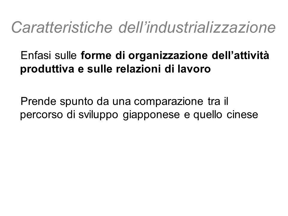 Caratteristiche dellindustrializzazione Enfasi sulle forme di organizzazione dellattività produttiva e sulle relazioni di lavoro Prende spunto da una