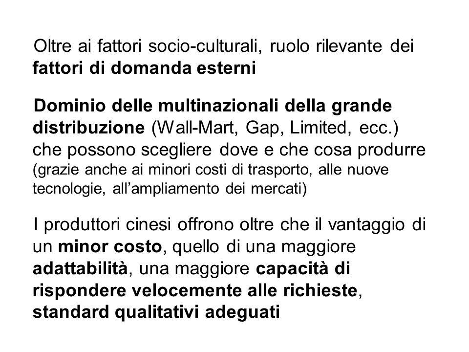 Oltre ai fattori socio-culturali, ruolo rilevante dei fattori di domanda esterni Dominio delle multinazionali della grande distribuzione (Wall-Mart, G