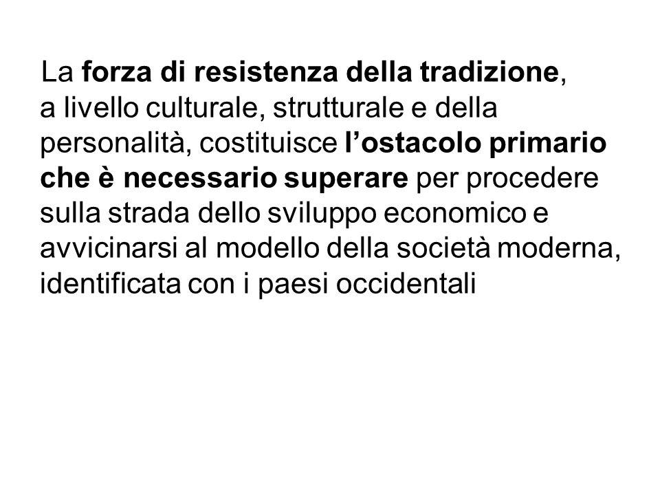 La forza di resistenza della tradizione, a livello culturale, strutturale e della personalità, costituisce lostacolo primario che è necessario superar
