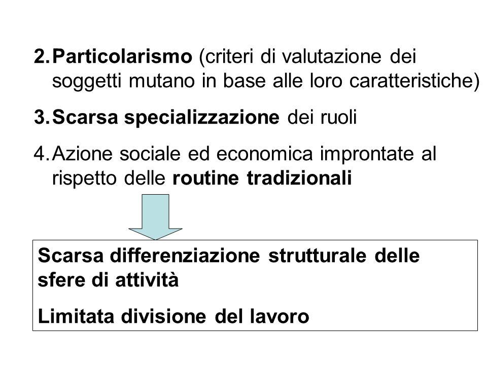 2.Particolarismo (criteri di valutazione dei soggetti mutano in base alle loro caratteristiche) 3.Scarsa specializzazione dei ruoli 4.Azione sociale e