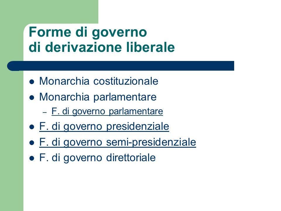 Forme di governo di derivazione liberale Monarchia costituzionale Monarchia parlamentare – F. di governo parlamentare F. di governo presidenziale F. d