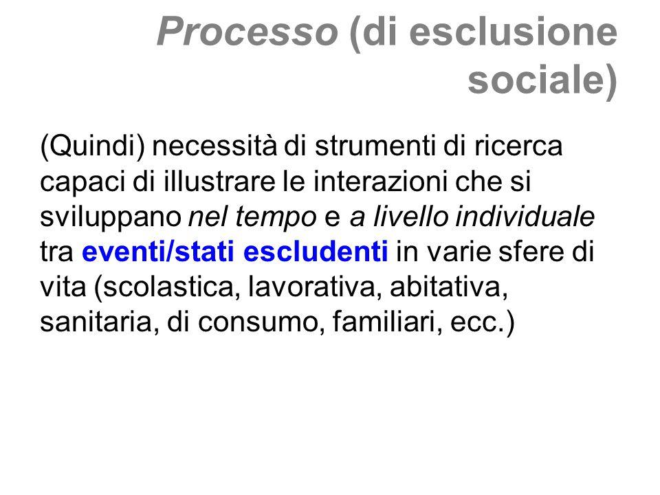 Processo (di esclusione sociale) (Quindi) necessità di strumenti di ricerca capaci di illustrare le interazioni che si sviluppano nel tempo e a livell