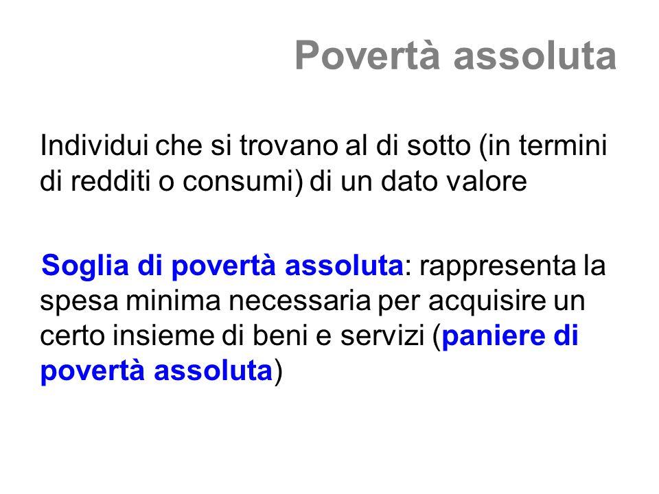 Povertà assoluta Individui che si trovano al di sotto (in termini di redditi o consumi) di un dato valore Soglia di povertà assoluta: rappresenta la s
