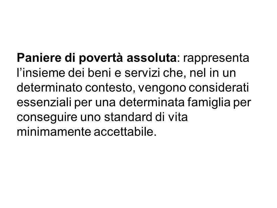 Paniere di povertà assoluta: rappresenta linsieme dei beni e servizi che, nel in un determinato contesto, vengono considerati essenziali per una deter