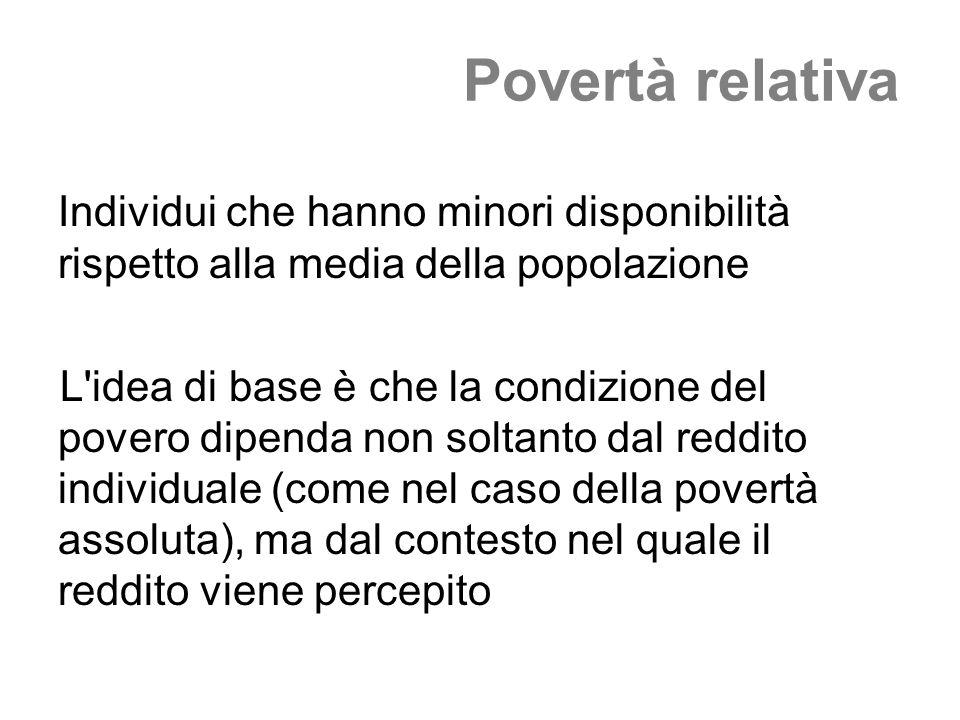 Povertà relativa Individui che hanno minori disponibilità rispetto alla media della popolazione L'idea di base è che la condizione del povero dipenda