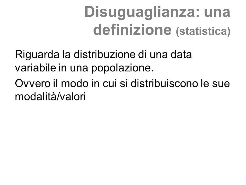Disuguaglianza: una definizione (statistica) Riguarda la distribuzione di una data variabile in una popolazione. Ovvero il modo in cui si distribuisco