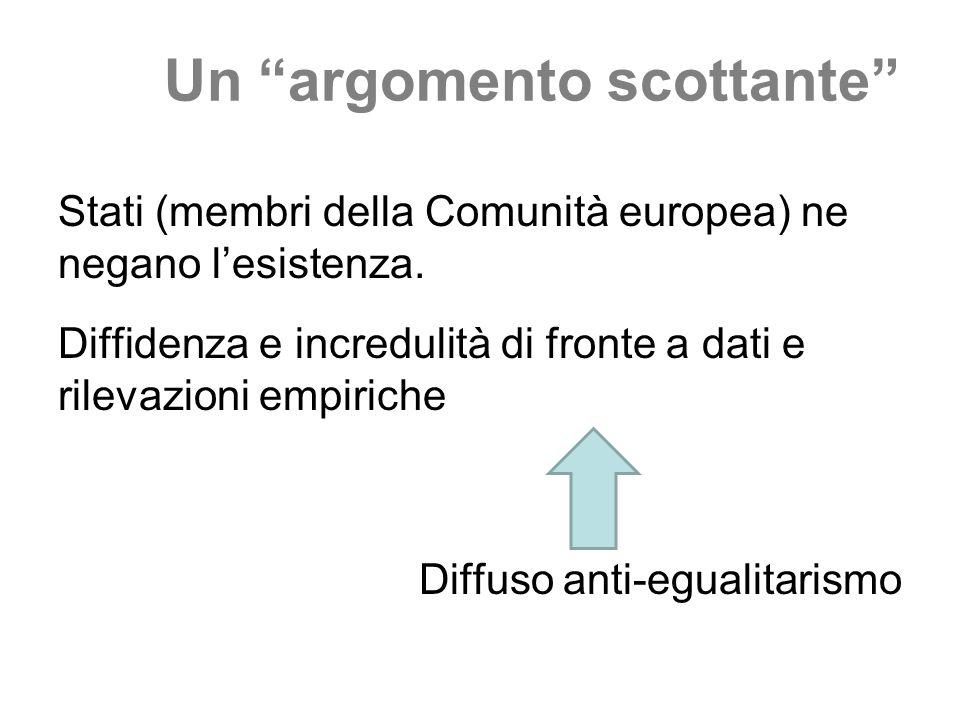 Un argomento scottante Stati (membri della Comunità europea) ne negano lesistenza. Diffidenza e incredulità di fronte a dati e rilevazioni empiriche D