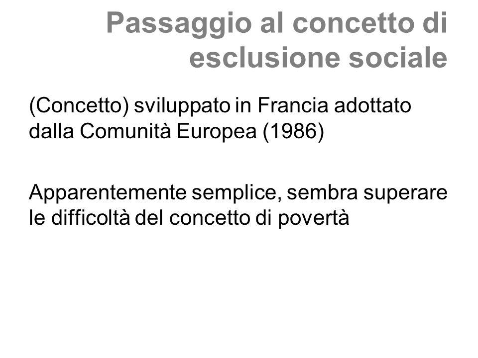 Passaggio al concetto di esclusione sociale (Concetto) sviluppato in Francia adottato dalla Comunità Europea (1986) Apparentemente semplice, sembra su