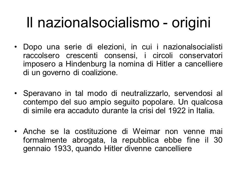 Il nazionalsocialismo - origini Dopo una serie di elezioni, in cui i nazionalsocialisti raccolsero crescenti consensi, i circoli conservatori imposero