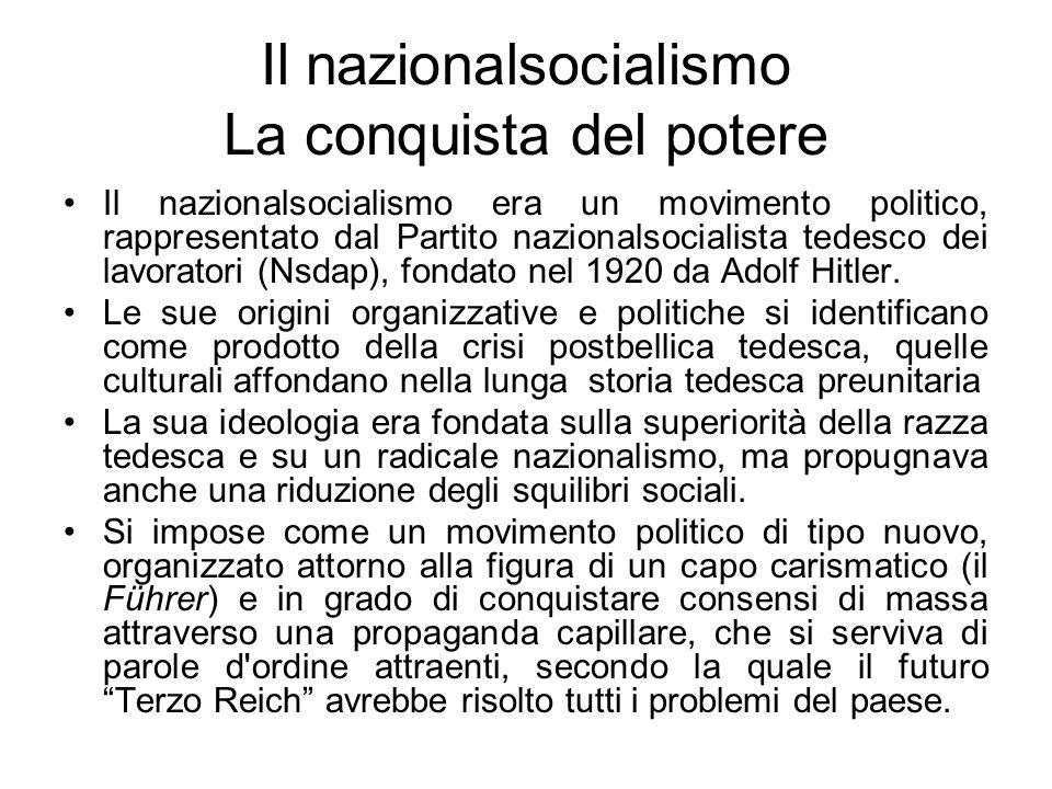 Il nazionalsocialismo La conquista del potere Il nazionalsocialismo era un movimento politico, rappresentato dal Partito nazionalsocialista tedesco de
