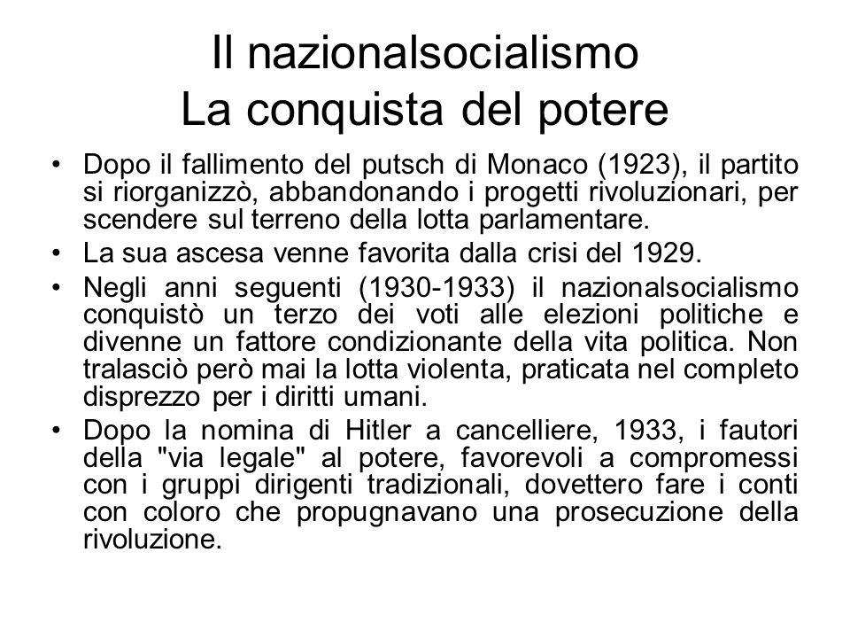 Il nazionalsocialismo La conquista del potere Dopo il fallimento del putsch di Monaco (1923), il partito si riorganizzò, abbandonando i progetti rivol