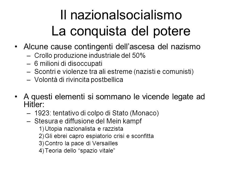 Il nazionalsocialismo La conquista del potere Alcune cause contingenti dellascesa del nazismo –Crollo produzione industriale del 50% –6 milioni di dis