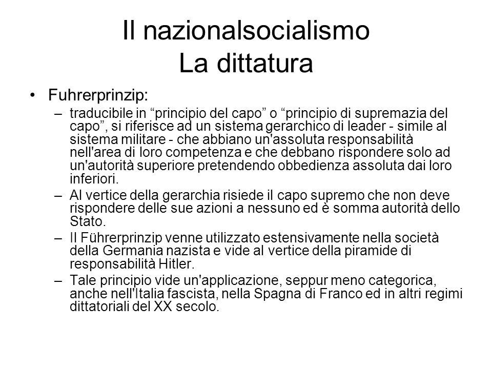 Il nazionalsocialismo La dittatura Fuhrerprinzip: –traducibile in principio del capo o principio di supremazia del capo, si riferisce ad un sistema ge