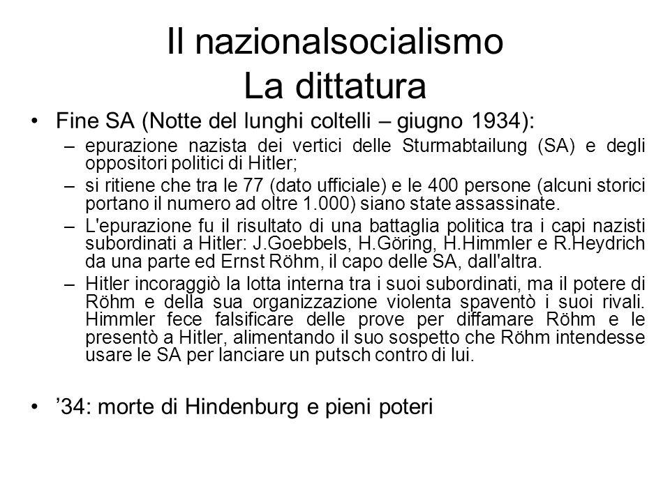 Il nazionalsocialismo La dittatura Fine SA (Notte del lunghi coltelli – giugno 1934): –epurazione nazista dei vertici delle Sturmabtailung (SA) e degl