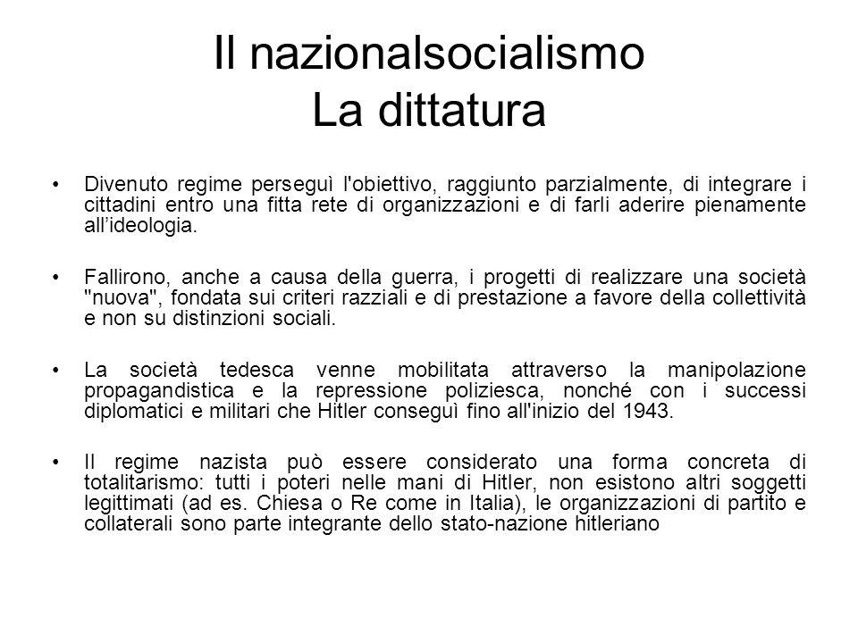 Il nazionalsocialismo La dittatura Divenuto regime perseguì l'obiettivo, raggiunto parzialmente, di integrare i cittadini entro una fitta rete di orga