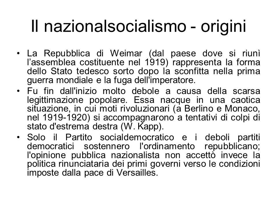 Il nazionalsocialismo - origini La Repubblica di Weimar (dal paese dove si riunì lassemblea costituente nel 1919) rappresenta la forma dello Stato ted