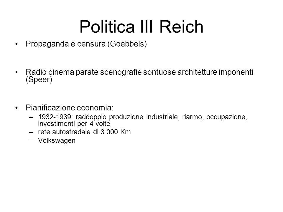 Politica III Reich Propaganda e censura (Goebbels) Radio cinema parate scenografie sontuose architetture imponenti (Speer) Pianificazione economia: –1