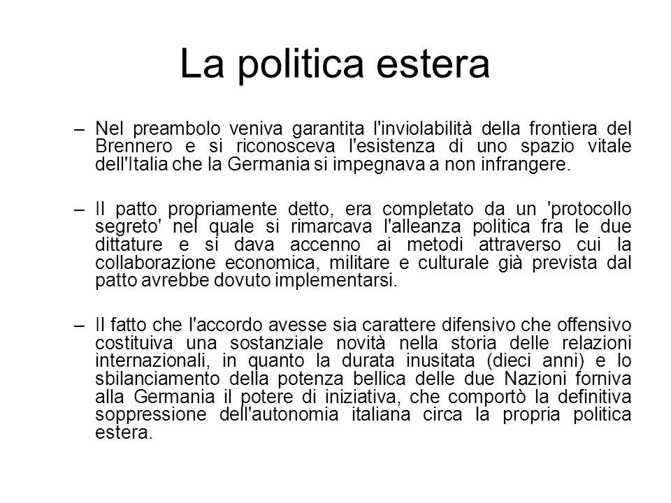La politica estera –Nel preambolo veniva garantita l'inviolabilità della frontiera del Brennero e si riconosceva l'esistenza di uno spazio vitale dell