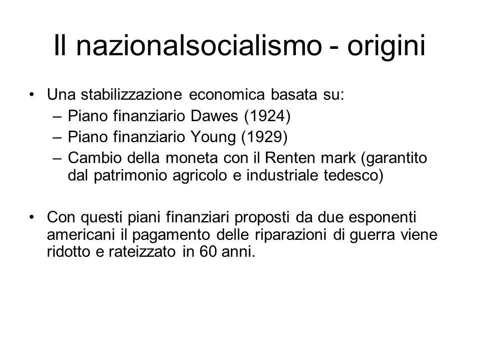 Il nazionalsocialismo - origini Una stabilizzazione economica basata su: –Piano finanziario Dawes (1924) –Piano finanziario Young (1929) –Cambio della