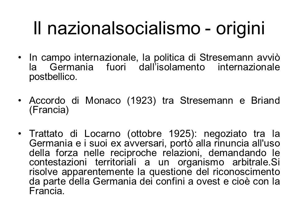 Il nazionalsocialismo - origini Lo spirito di Locarno sembrò preludere al definitivo superamento delle tensioni ereditate dal conflitto.