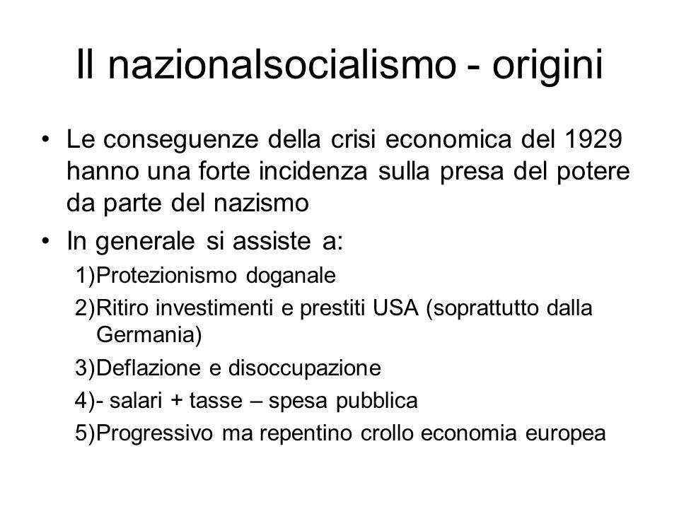 Il nazionalsocialismo - origini La crisi economica internazionale del 1929 colpì duramente l economia tedesca, che dipendeva dai crediti statunitensi.