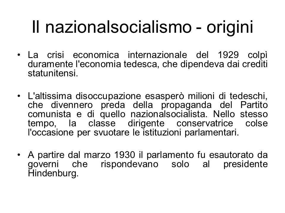 Il nazionalsocialismo - origini Dopo una serie di elezioni, in cui i nazionalsocialisti raccolsero crescenti consensi, i circoli conservatori imposero a Hindenburg la nomina di Hitler a cancelliere di un governo di coalizione.