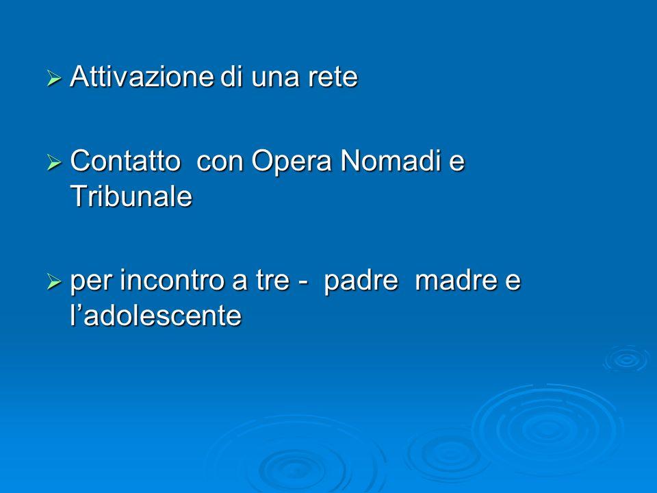 Attivazione di una rete Attivazione di una rete Contatto con Opera Nomadi e Tribunale Contatto con Opera Nomadi e Tribunale per incontro a tre - padre