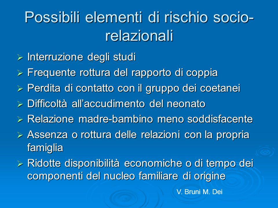 Possibili elementi di rischio socio- relazionali Interruzione degli studi Interruzione degli studi Frequente rottura del rapporto di coppia Frequente