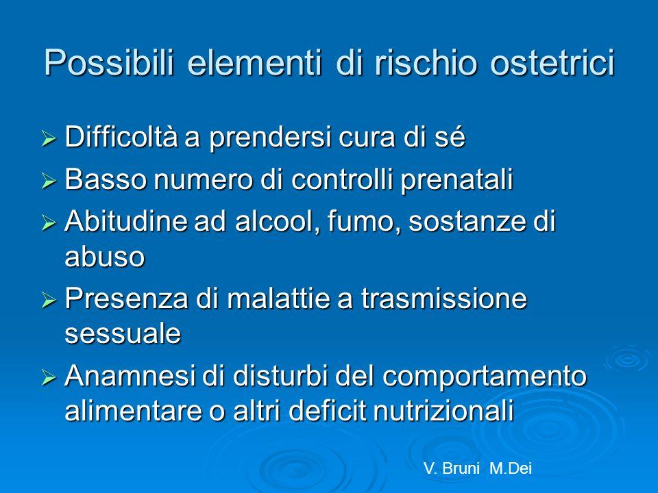 Possibili elementi di rischio ostetrici Difficoltà a prendersi cura di sé Difficoltà a prendersi cura di sé Basso numero di controlli prenatali Basso