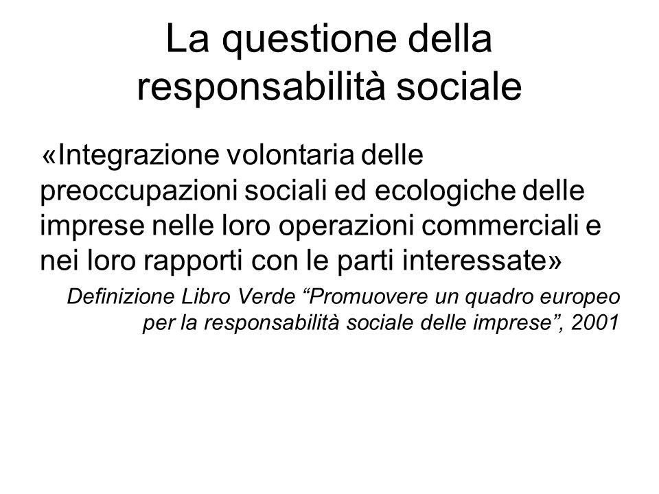 La questione della responsabilità sociale «Integrazione volontaria delle preoccupazioni sociali ed ecologiche delle imprese nelle loro operazioni comm