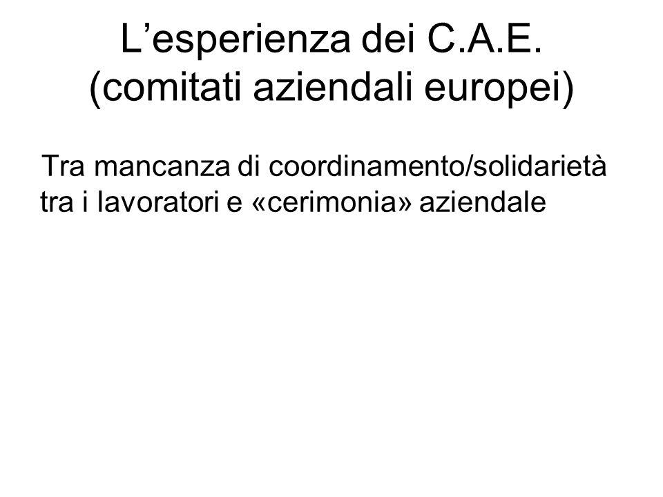 Lesperienza dei C.A.E. (comitati aziendali europei) Tra mancanza di coordinamento/solidarietà tra i lavoratori e «cerimonia» aziendale