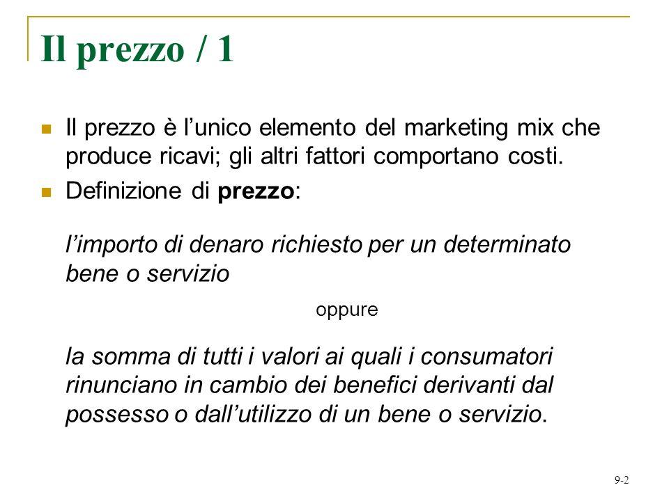 9-2 Il prezzo / 1 Il prezzo è lunico elemento del marketing mix che produce ricavi; gli altri fattori comportano costi.