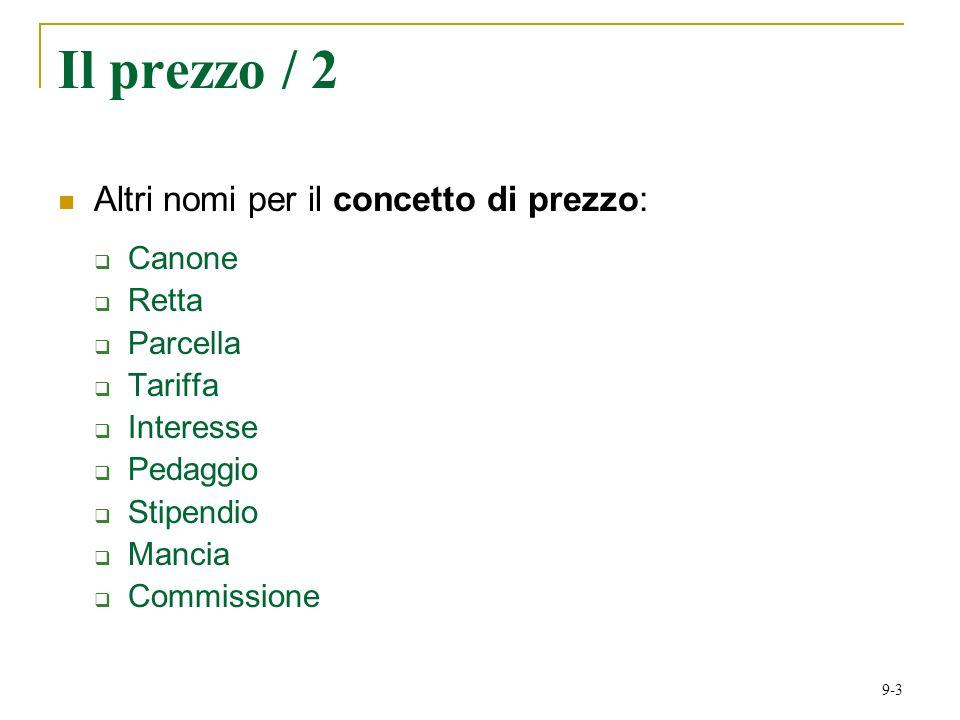 9-3 Il prezzo / 2 Altri nomi per il concetto di prezzo: Canone Retta Parcella Tariffa Interesse Pedaggio Stipendio Mancia Commissione