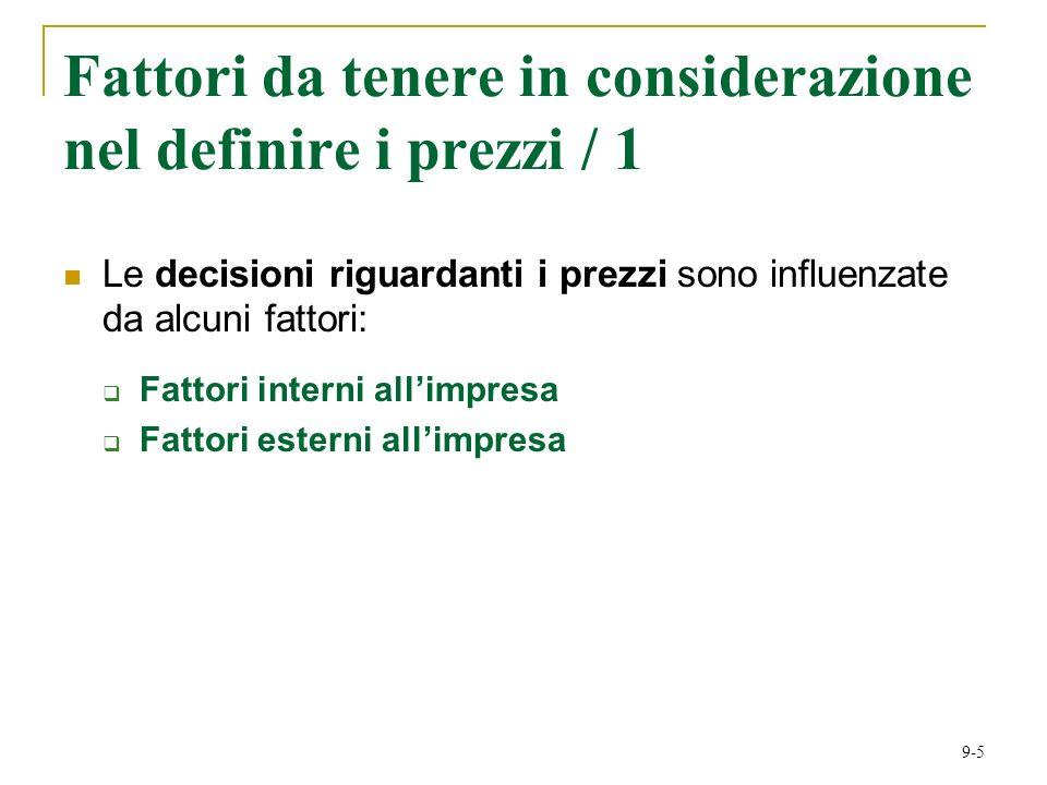 9-5 Fattori da tenere in considerazione nel definire i prezzi / 1 Le decisioni riguardanti i prezzi sono influenzate da alcuni fattori: Fattori interni allimpresa Fattori esterni allimpresa