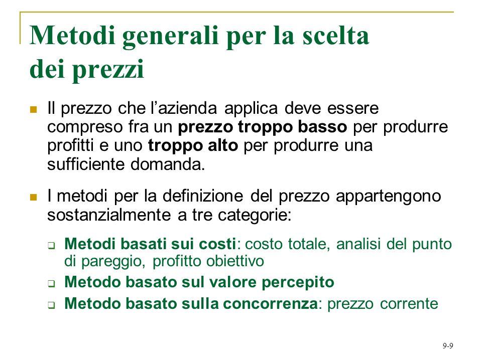 9-9 Metodi generali per la scelta dei prezzi Il prezzo che lazienda applica deve essere compreso fra un prezzo troppo basso per produrre profitti e uno troppo alto per produrre una sufficiente domanda.