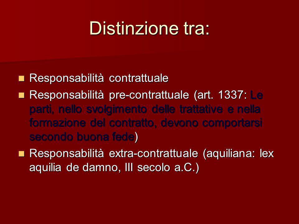 Distinzione tra: Responsabilità contrattuale Responsabilità contrattuale Responsabilità pre-contrattuale (art. 1337: Le parti, nello svolgimento delle