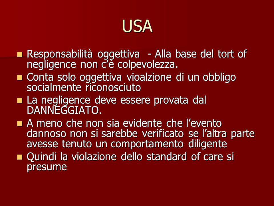 USA Responsabilità oggettiva - Alla base del tort of negligence non cè colpevolezza. Responsabilità oggettiva - Alla base del tort of negligence non c