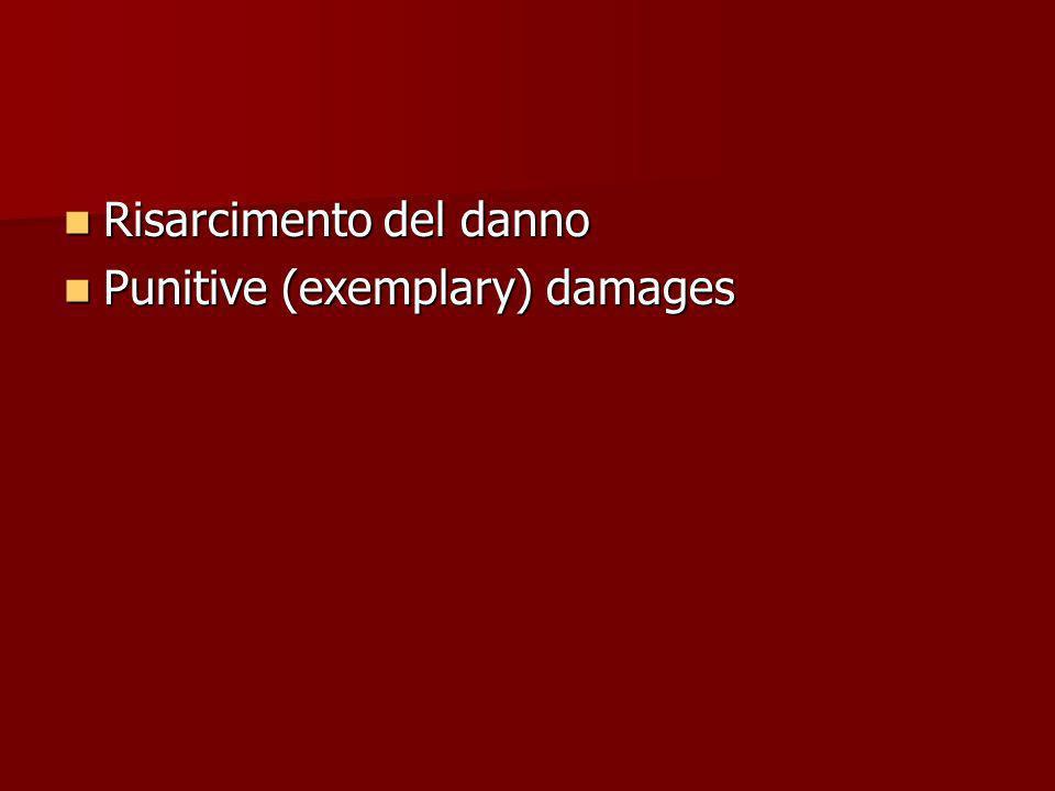 Risarcimento del danno Risarcimento del danno Punitive (exemplary) damages Punitive (exemplary) damages