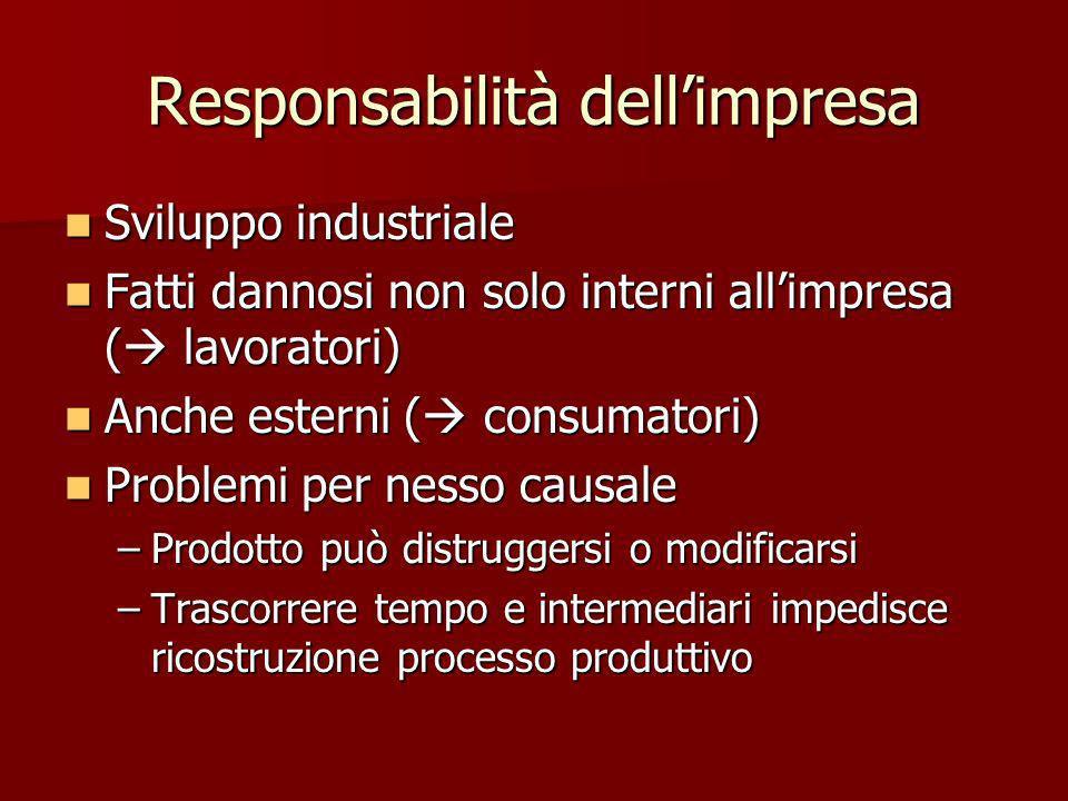 Responsabilità dellimpresa Sviluppo industriale Sviluppo industriale Fatti dannosi non solo interni allimpresa ( lavoratori) Fatti dannosi non solo in