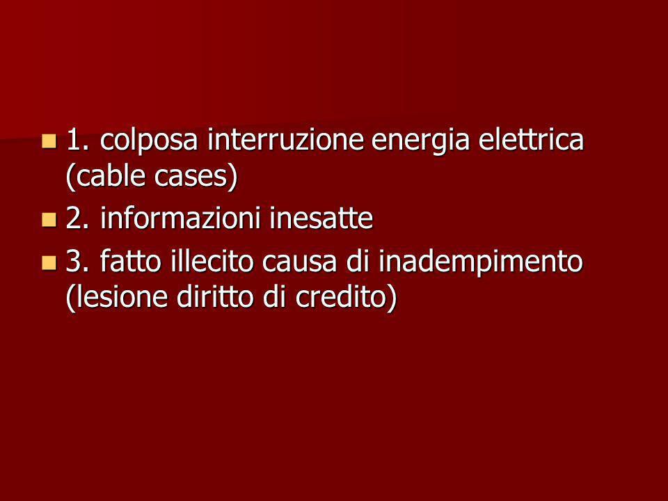 1. colposa interruzione energia elettrica (cable cases) 1. colposa interruzione energia elettrica (cable cases) 2. informazioni inesatte 2. informazio