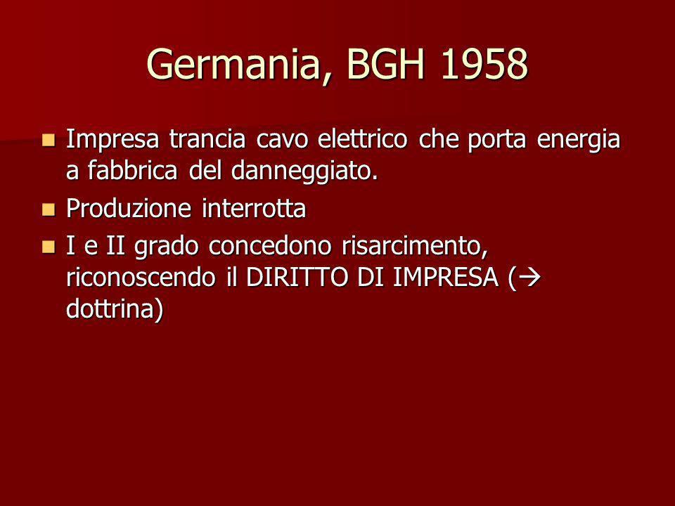 Germania, BGH 1958 Impresa trancia cavo elettrico che porta energia a fabbrica del danneggiato. Impresa trancia cavo elettrico che porta energia a fab