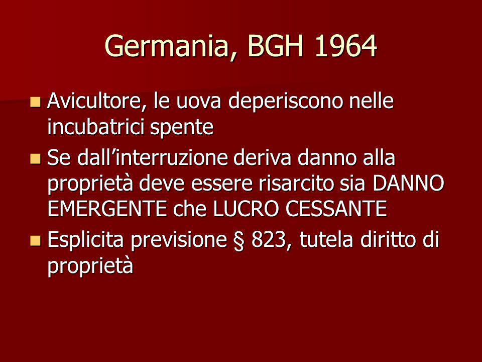 Germania, BGH 1964 Avicultore, le uova deperiscono nelle incubatrici spente Avicultore, le uova deperiscono nelle incubatrici spente Se dallinterruzio