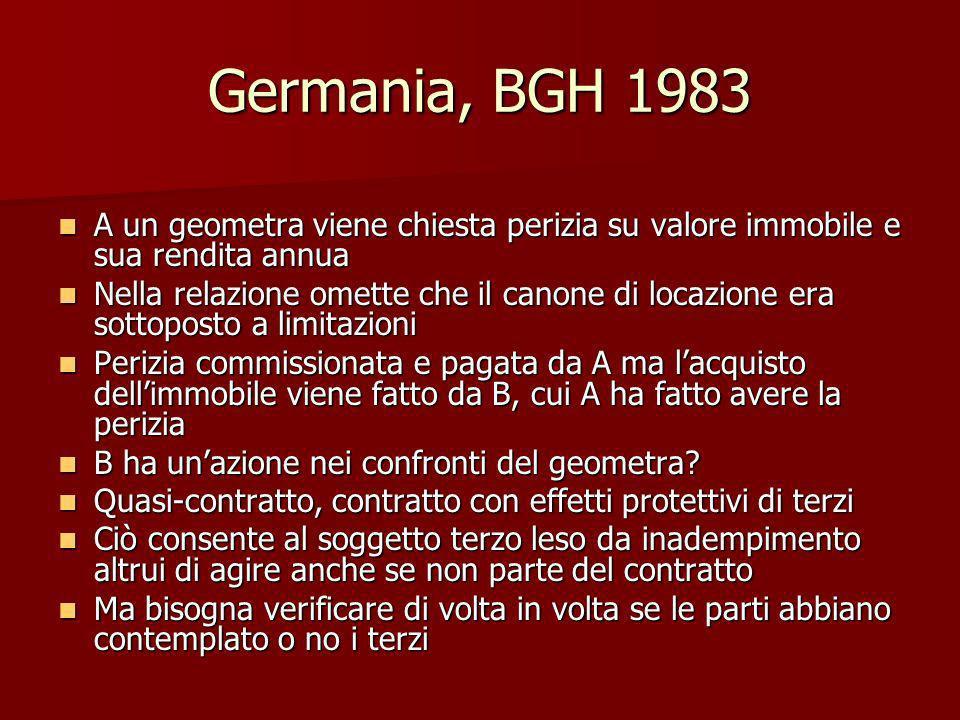Germania, BGH 1983 A un geometra viene chiesta perizia su valore immobile e sua rendita annua A un geometra viene chiesta perizia su valore immobile e